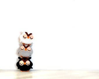 Owl home decor ombre white gray and black set of 3