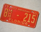 Vintage  License Plates 1965 Florida Motor HomeMetal Tags