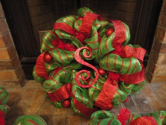 Christmas Initial Deco Mesh Wreath