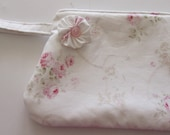 Shabby Chic Wristlet or Cosmetic Make up bag