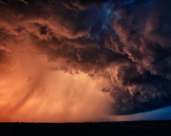 Fine art print of a supercell thunderstorm in Nebraska at sunset in 2012