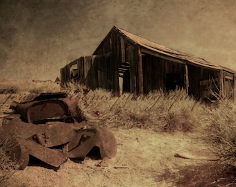 Fine Art Print of a car or truck ruins in the ghost town of Bodie, California.