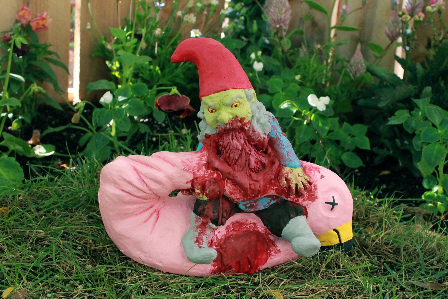 Pig lawn ornament - Zombie Gnomes Lunch Break
