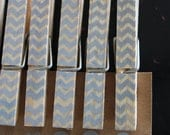 "Chevron Clothespins ""Slate"" - Set of 10 Handstamped Clothes Pins"