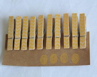 """Mini Chevron Clothespins """"Mango"""" - Set of 10 Handstamped Clothes pins"""