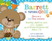 TEDDY BEAR invitation - birthday/shower - U PRINT