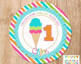 BRIGHT ICE CREAM favor tags -  You Print
