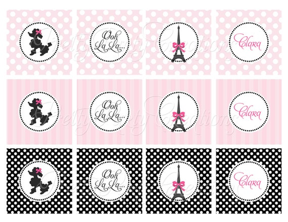 PARIS cupcake toppers - U PRINT - Poodle or couple for birthdays or ...