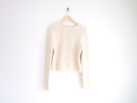vintage lambswool cream cable knitted sweater
