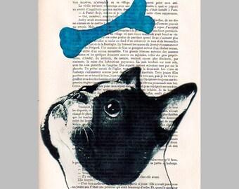 French bulldog with blue pop-art bone - ORIGINAL ARTWORK Hand Painted Mixed Media on 1920 Parisien Magazine 'La Petit Illustration'