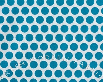 Dots in Teal Blue, Mod Basics, Birch Fabrics, 100% Certified Organic Cotton