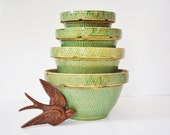 Rare Antique Yellow Ware Mixing Bowls