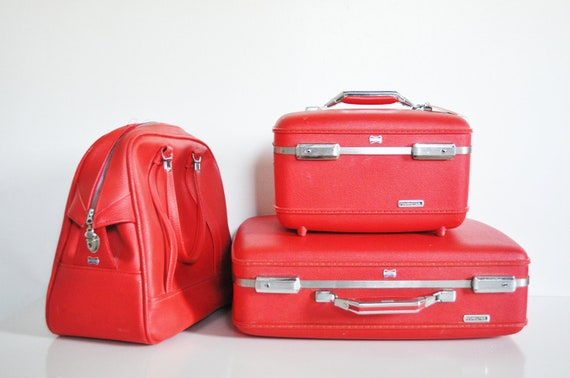 Red American Tourister Suitcase - Circa 1960s