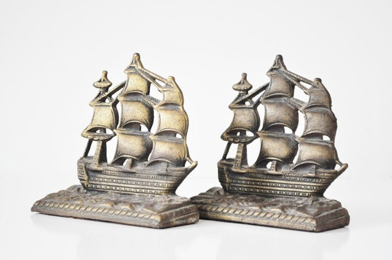Cast Iron Ship Bookends