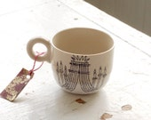white and beige chandelier tea cup - new orleans inspired - black and white hand drawn illustration
