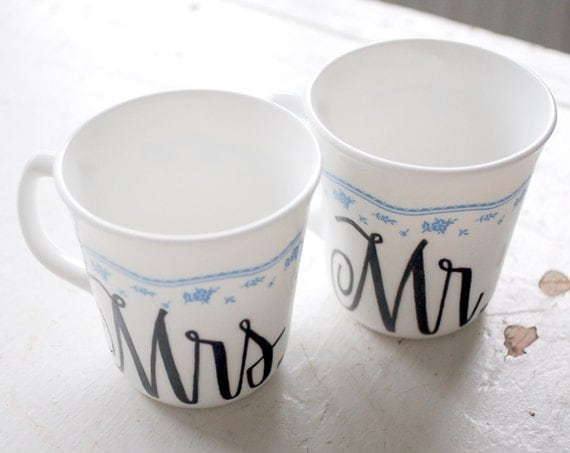 mr. and mrs. upcycled shabby chic mug - black and white with blue flower border - set of two (2) ready to ship