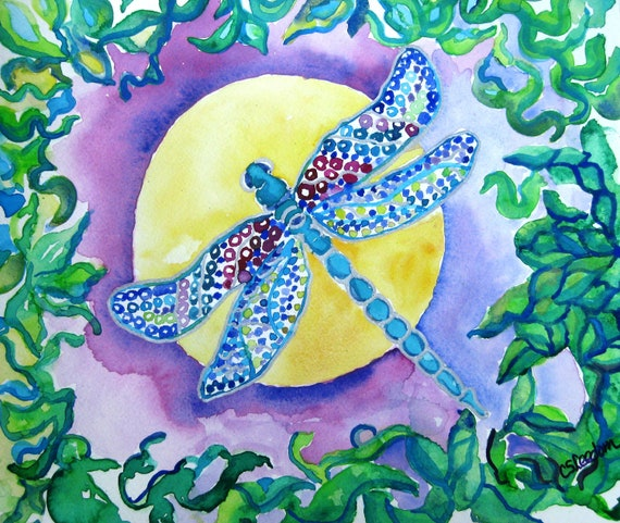 Dragonfly watercolor painting, Original watercolor painting, Dragonfly