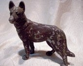 RESERVED for Rebecca German Shepard Antique Hubley cast aluminum dog door stop with glass eyes 1930