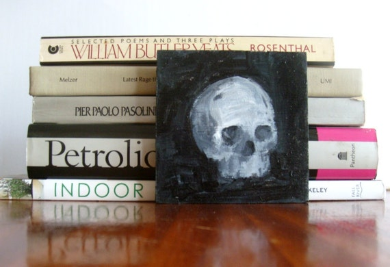 Small Art Painting of a Skull - Goth Black and White Skull Artwork - Size 4x4 Original Acrylic Painting