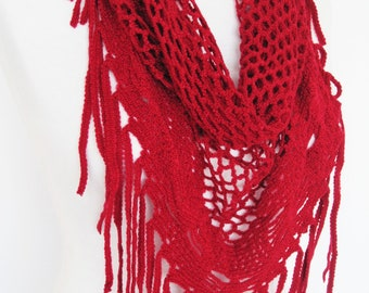 Red Knitted Fringed Scarf / Shawl, Lace Scarf, Cowl, Headband,  Triangle Scarf