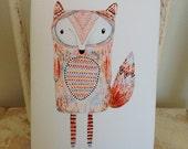 Childrens Decor, Nursery Decor, Kids Art,  Foxy Locksy - Fox Print - Limited Edition Mini Canvas Print by Jennie Deane