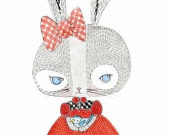 Childrens Decor, Nursery Decor, Kids Art,  Rabbit and Bird Print - Limited Edition 8x10 Print by Jennie Deane