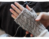 learn to knit cabled fingerless gloves. a movie tutorial kit in various colours. knit in the round, old school.