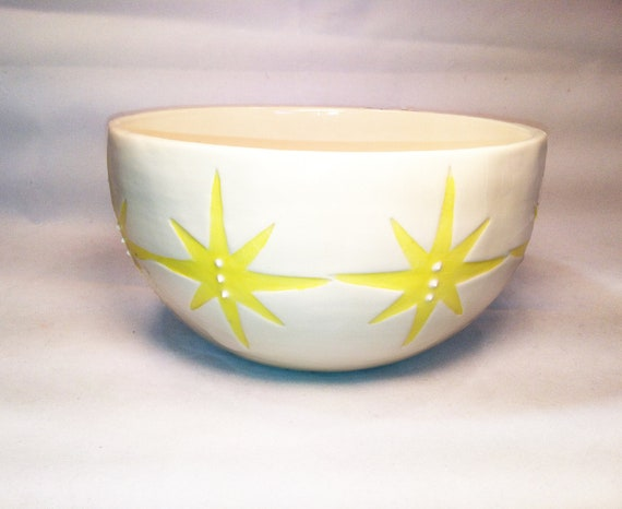 White Ceramic Pottery Bowl With Yellow Stars Made in USA OHIO Cereal Ice Cream Serving