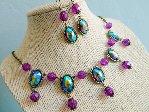 Necklace & Earrings Vintage Mystic Helio AB Violet Purple Victorian Chic - Midnight in the Garden