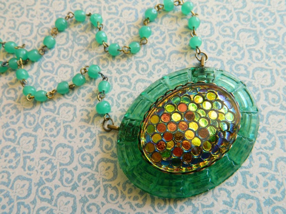 Necklace Vintage Depression Glass Green and Vitrail Blue Violet Peridot Scales - The Deep Lagoon