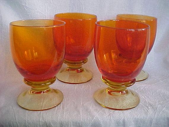 RESERVED Vintage Colony Glass Picardo Orange Wine Glass 1970s