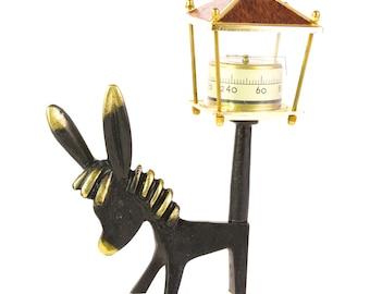 Vintage Walter Bosse ORIGINAL Modernist Austrian 1960s Brass Donkey Figure with Thermometer