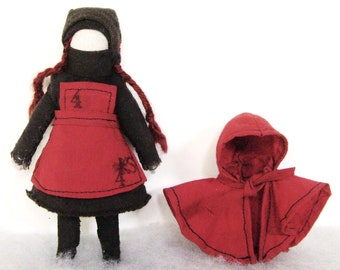 Small Kosaka, with red cap. Articulable textile sculpture doll.(only to order)-Christmas.