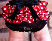 Minnie Ruffle Bloomers.   Black with Red and White Polka dots.  Photo prop, birthday