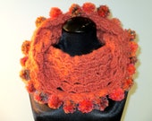 Scarf Cowl Thick Baubles and Pom Poms Oranges and Greens Reversible