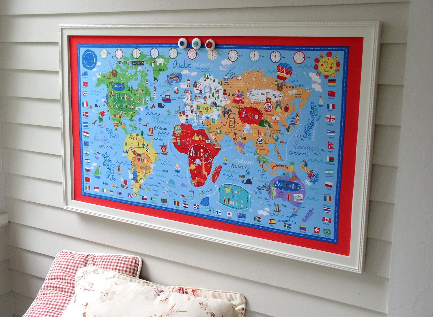 World Map BULLETIN BOARD Kids Magnetic Memo Board with Red