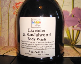 Lavender & Sandalwood Body Wash - Organic/Wildcrafted Essential Oils Soothe, Moisturize, Love Skin,  8 oz.