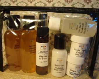 Jamilah Hair & Body Care Travel Kit, Shampoo, Organic/Wildcrafted Hair Care, Skin Care, Hair Rinse, Body Lotion, Hand Sanitizer, Conditioner