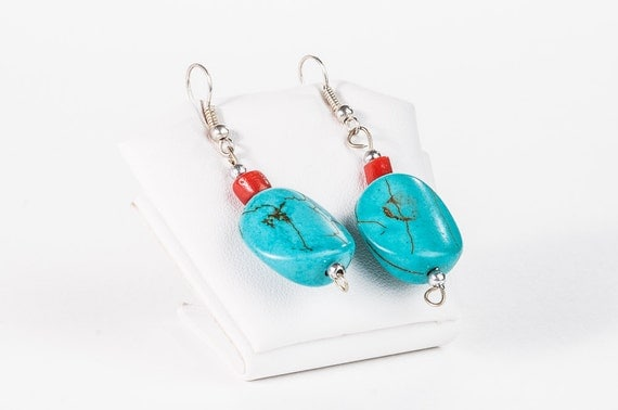 Summer Earrings - beaded short earrings blue turquoise red coral earrings summer jewelry