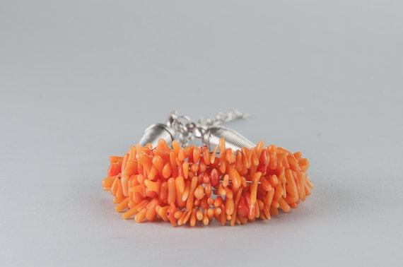 Orange Coral Beaded Bracelet Funky Bracelet for autumn for summer for her