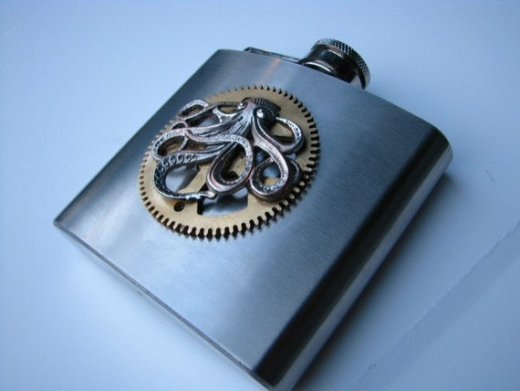 Steampunk Flask with Grandfather Clock Gear and Octopus Charm