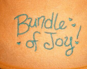 Bundle of Joy Baby Newborn Girl- Baby Boy Embroidered Orange Bib