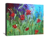 Poppies Painting Abstract Garden Painting Red Flower Painting Abstract Floral Pallet Knife Textured Painting on Canvas Original Art 24x20