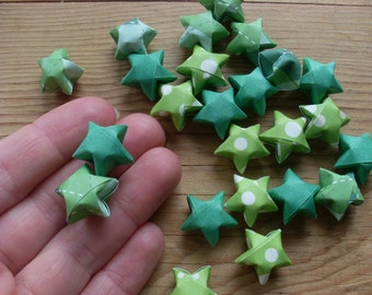 Spring Greens Origami Star Mix, Table Confetti, Greens, set of 24.