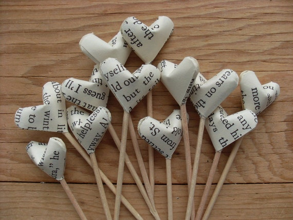 Vintage Novel Pages Origami Hearts Party Picks or Cupcake Toppers, set of 12. Great Teacher Gift.