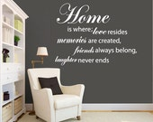 Wall Decal quote - home - Vinyl Wall Art Quote