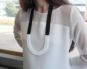 Modern Minimal Black // White U-shaped Necklace