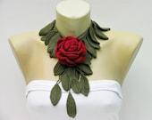 Dark red  rose crochet flower jewelry scarf/crochet scarf  / crochet necklace/ with  removable flower brooch