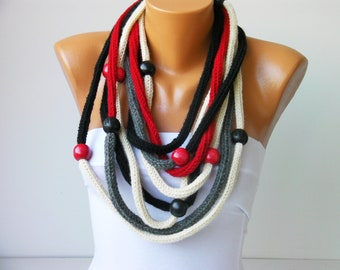 crochet lariat scarf,crochet  chain necklace scarf with beads