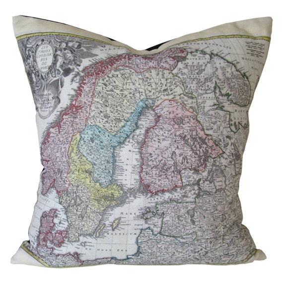 Scandinavian Pillow Cases : Items similar to Swedish Map Throw Pillow Case - Scandinavian Decorative Pillow Case ...
